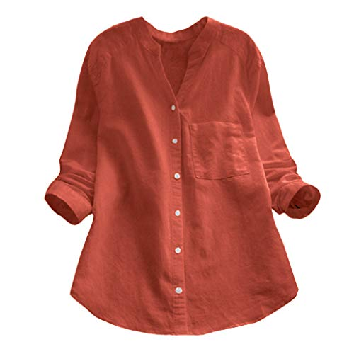 Rambling Women Cotton Linen Casual Loose Button-Down Shirt Solid Long Sleeve Basic Blouse Henley Tops (Orange, XL) (Orange And White Striped Long Sleeve Shirt)