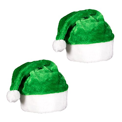 (2 Pack) Green Plush Holiday Christmas Santa Hats with Pom Pom -