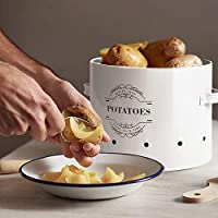 Virklyee/® Tarros de Patatas Tarro de Cebolla Tarro de ajo Juego de 3 Frascos de Almacenamiento para Frutas y Verduras Tanque de Almacenamiento de Metal Botes para Alimentos Azul