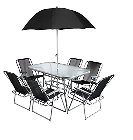 Juego de muebles de jardín exterior 6 plazas con sombrilla ...