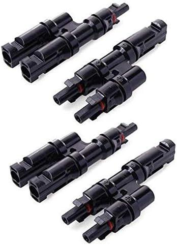 JJDD MC4 T-Abzweigverbinder, 1 Paar MC4-Stecker weiblich, 1 zu 2 Photovoltaik-Stecker, Adapter Solarpanel, Kabel Stecker für Solarpanel, 2 Stück