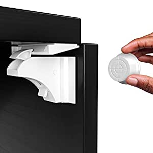Magnetic Cabinet Locks (12-Pack 2 Keys) Baby Proofing & Child Safety by Skyla Homes - The Safest, Quickest and Easiest Multi-Purpose 3M Adhesive Child Proof Latches, No Screws or Tools Needed