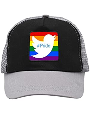 Unisex Twitter Rainbow Flag Pride Hashtag Trucker Hat Adjustable Mesh Cap