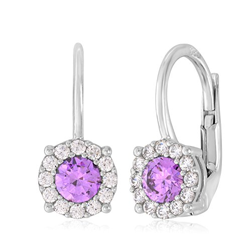 UNICORNJ 14K White Gold CZ Halo Leverback Earrings with Purple Center Italy by Unicornj