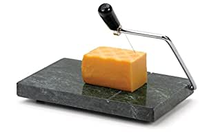 """8"""" x 5"""", Green Marble Board, Stainless Steel Wire Cheese Slicer"""
