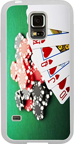 Hard Rubber Clear Phone Case Galaxy S5 Case Cover- Les Vegas Gambling Casino Game - Royal Flush and Poker Chips