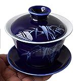 Gaiwan 5oz/150ml Blue White Porcelain teacup Sancai Tea Cup Set beauty pattern Lid