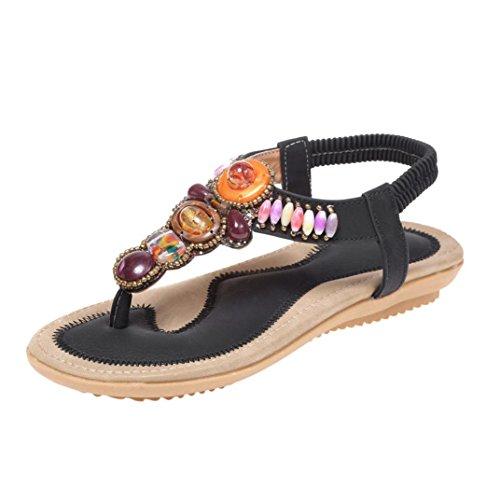 SANFASHION Sandale Femme Été Mode Bohème Sandales Perlées Sucrées Clips Sandales Toe Chaussures de Plage Chevrons Ado Noir ZHso5g3eF