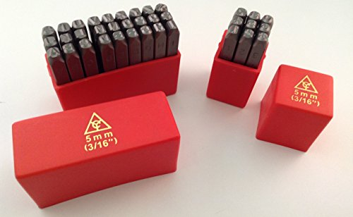 36pc 3/16 5MM Letter & Number Stamp Punch Set Hardened Steel, Metal Wood Leather ()