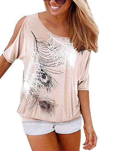 Women's Summer Casual Cold Shoulder Short Sleeve Feather Print T-Shirts Blouse Tops Beige Tag M