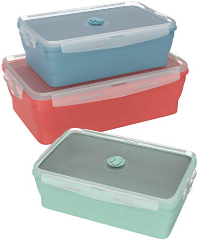 Collapsible Silicone Food Storage Containers 3-Pack offer. Baby food saver with sizes Small, Medium & Large. Safe for hot food storage. Easily washable and Stain resistant. FDA Approved & BPA Free. ()