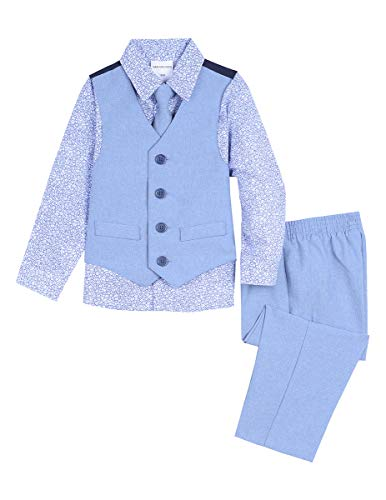 Van Heusen Baby Boys 4-Piece Patterned Dresswear Vest Set, Printed Blue Allure 24 Months