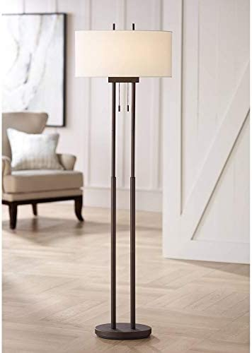 Roscoe Modern Floor Lamp Twin Pole Oil Rubbed Bronze White Drum Shade