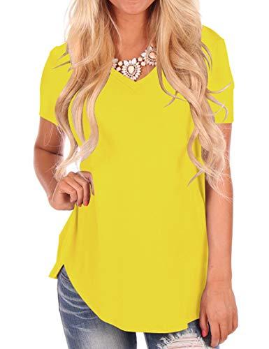 Basic Tees for Women Plain Tops Short Sleeve T Shirt Plus Size Yellow