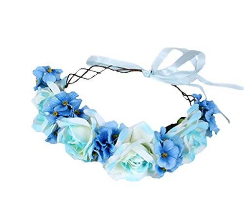 Flower Head Wreath - Vivivalue Handmade Boho Rose Flower Headband Hair Wreath Halo Floral Garland Crown Headpiece with Ribbon Festival Wedding Party Blue