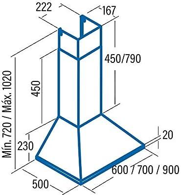 CATA Modelo BETA 700 extracción | campana extractora cocina 850m3/h-340m3/h | Acabado en acero inoxidable | [Clase de eficiencia energética A], 59 Decibelios, 3 Velocidades: 174.49: Amazon.es: Grandes electrodomésticos
