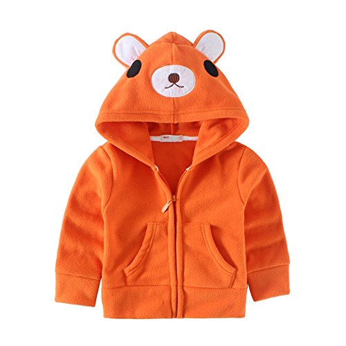 Mud Kingdom Cute Toddler Boys Fleece Animal Costume Hoodies 24 Months Orange Bear ()