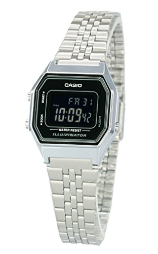 Casio Ladies Mid-Size Silver Digital Retro Watch LA-680WA-1BDF ()