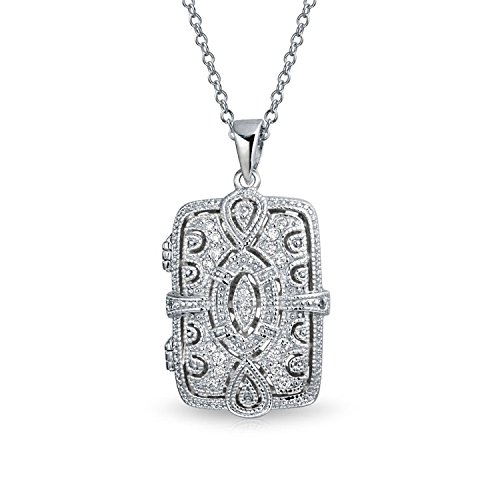 - Vintage Style Rectangular Locket Pendant Filigree Cubic Zirconia CZ Necklace for Women 925 Sterling Silver 18in Chain