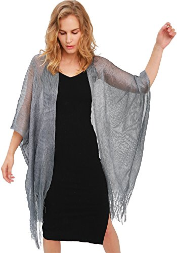 MissShorthair Womens Glitter Open Front Cardigans Sheer Metallic Long Cardigan Blouse Tops with Tassel (Sliver Grey) from MissShorthair