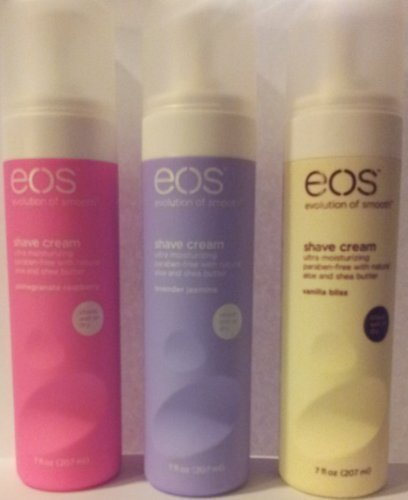 Eos Ultra Moisturizing Shave Cream Variety Pack: Pomegranate-Raspberry, Lavender Jasmine, Vanilla Bliss - 3 x 7.0 Ounce