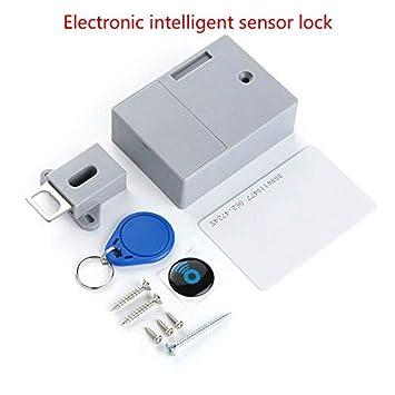 XuBa Cerradura de Puerta de Inducción Eléctrica Inteligente Universal Sin Orificio con Batería de Gabinete RFID de Cajón de Muebles con Llave: Amazon.es: ...