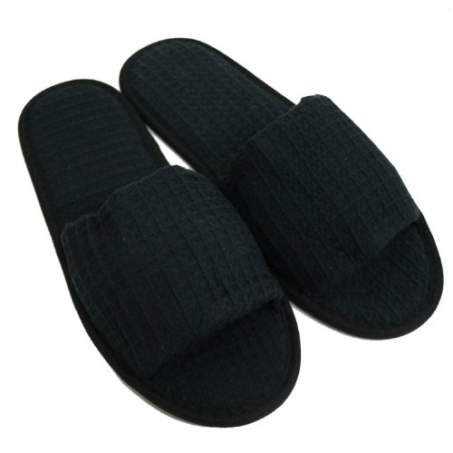 Waffle Open Toe Adult Slippers Cloth Spa Hotel Unisex Slippers for Women and Men Black from TowelRobes