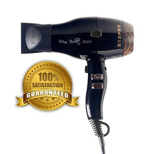 BYBPRO Professional Hair Dryer Nano Titanium Mini Bullet 5500 Ionic powerful long life 6 heat settings Blow Dryer