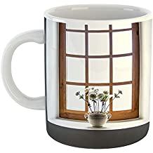 Westlake - Coffee Cup Mug - Window Wood - Modern Picture Photography Artwork Home Office Birthday Gift - 11oz (69m a11)