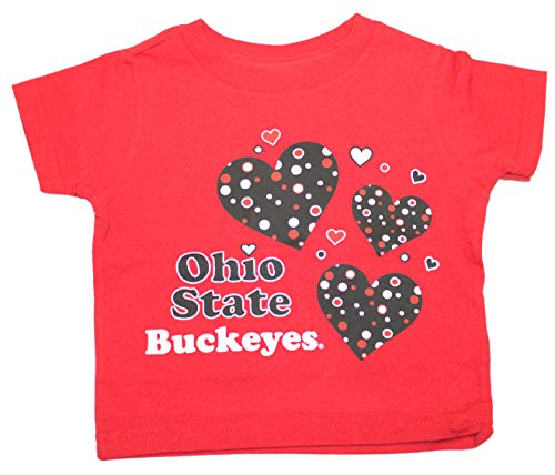 (Two Feet Ahead Ohio State Buckeyes Child Red Hearts T-Shirt (2))