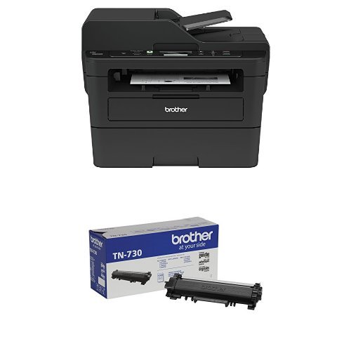 Brother Compact Monochrome Laser Multi-Function Copier and Printer, DCPL2550DW with Standard Yield Black Toner by Brother