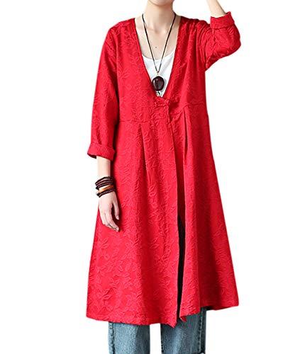 YESNO JS7 Women Vintage Coat Cardigan Jacket Jacquard 100% Cotton V-Neck Chinese Frogs Pleated Side Pockets