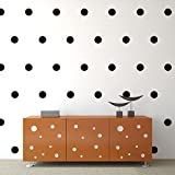 """Black Polka Dots Wall Decals (4""""- 54 Decals) Removable Peel And Stick Vinyl Décor Stickers. 3 Sheets of 4 Inch Circles. For Home, Childrens Room, Living Room, Bedroom, And Nursery."""