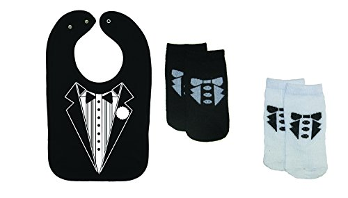 """RSG Baby """"Tuxedo"""" Baby Bib & Socks - Bib & 2-Pair"""