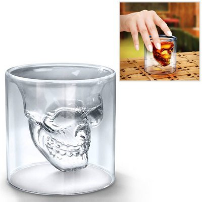 Creative Skull Design Crystal Transparent Glass Cup 2.5 Ounces