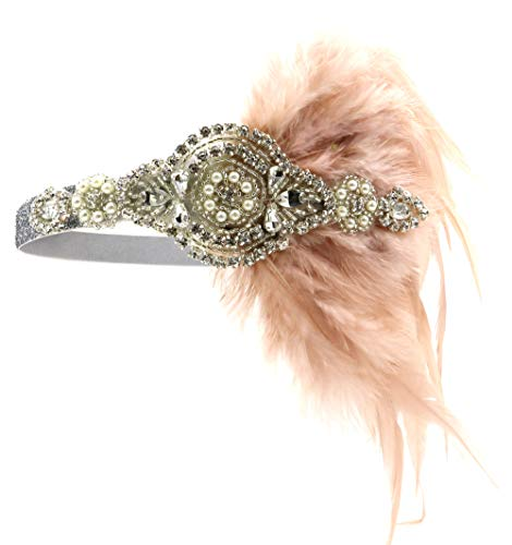 Vintage Black Feather Silver 20s Bridal headpiece 1920s Flapper Great Gatsby Headband (Silver and Nude)]()