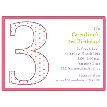 Image Unavailable Not Available For Color 3Rd Birthday Girl Dots Invitations