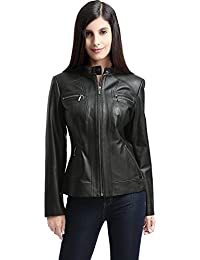 Women's Mila Zip Front Leather Jacket (Regular and Plus Size and Short)