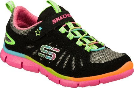 Skechers Flickor Ned Pa Pagesë Svart / Multi