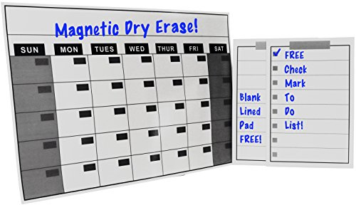 Magnetic Refrigerator Dry Erase Calendar - Magnet Weekly Chore List Grocery List and To Do List