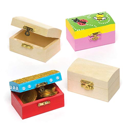 (Baker Ross Mini Wooden Treasure Chests (Box of 4) for Kids to Decorate, Arts and Crafts)