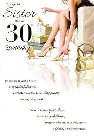 Gluckwunschkarte Fur Den 30 Geburtstag Der Schwester Amazon De