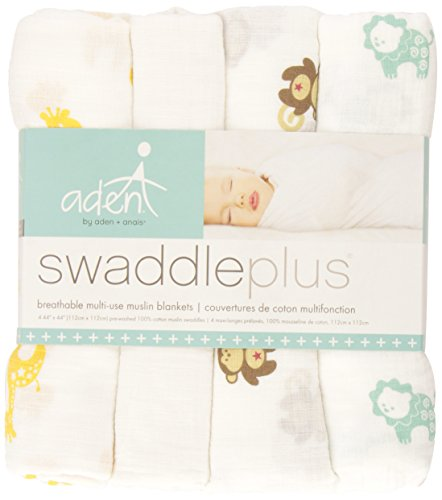 aden by aden + anais Muslin Swaddle 4 Pack, safari friends