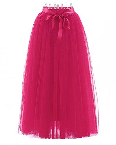 donne il Prom Mini di 100cm principessa Petticoat Fucsia partito delle tulle per stratificati gonna Tutu adulti di Facent pizzo OYFWaRSa