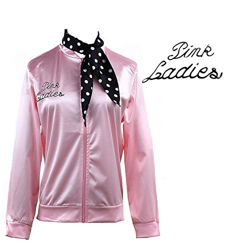 50S Grease Pink Ladies Satin Jacket T-Bird Danny Costume Polka Dot Scarf (S, Pink) ()