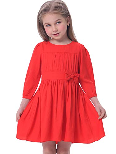 Bonny Billy Girls Long Sleeve Solid Pleated A-Line Children Dress with Bow 10-11 Years -