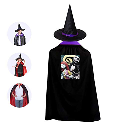 DIY Night-mare Be-fore Chr-istmas Costumes 3D Printed Party Dress Up Cape Reversible with Wizard Witch Hat
