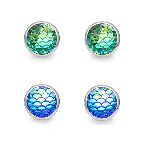 - MissNity Silver Set of 2 Mermaid Earring Studs for Girls and Women Handcrafted Iridescent Blue Green Dragon Scales Trendy Jewelry (B001)