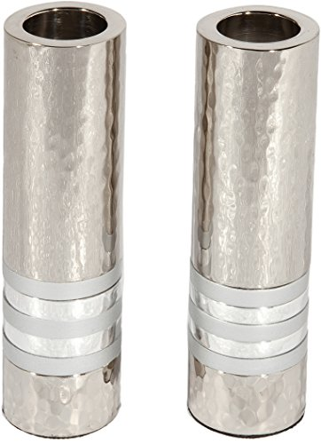 Majestic Giftware Cylinder Shaped Hammered Candlesticks Silver