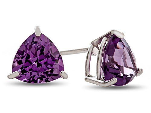 Trillion White Earrings - Finejewelers 7x7mm Trillion Amethyst Post-With-Friction-Back Stud Earrings 14 kt White Gold